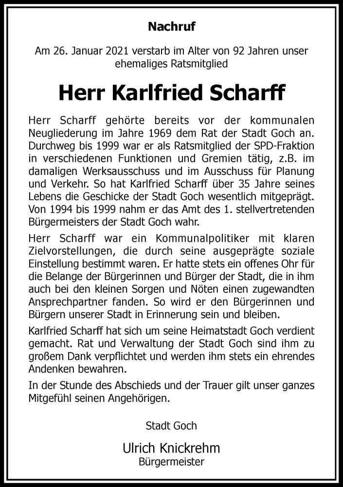 Traueranzeige für Karlfried Scharff vom 04.02.2021 aus Rheinische Post