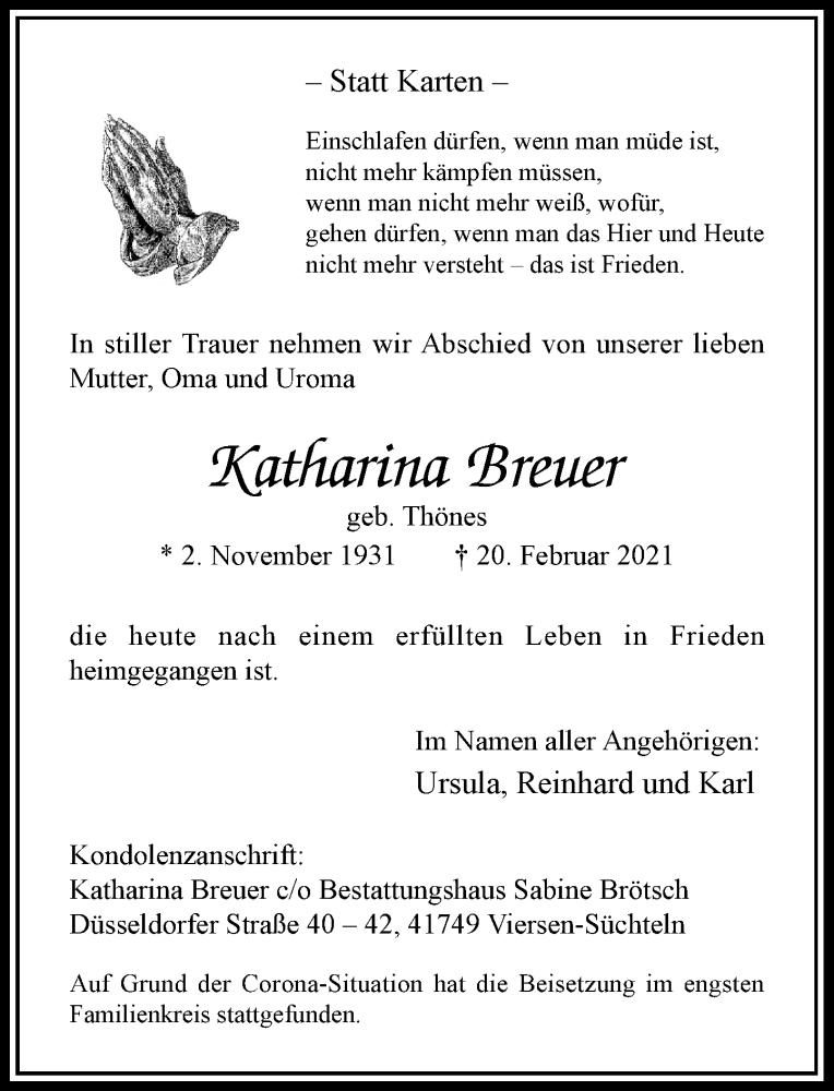 Traueranzeige für Katharina Breuer vom 27.02.2021 aus Rheinische Post