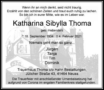 Traueranzeige von Katharina Sibylla Thoma von Rheinische Post