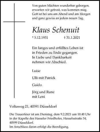 Traueranzeige von Klaus Schenuit von Rheinische Post