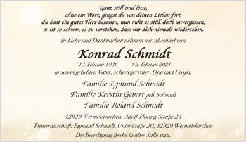 Traueranzeige von Konrad Schmidt von Rheinische Post