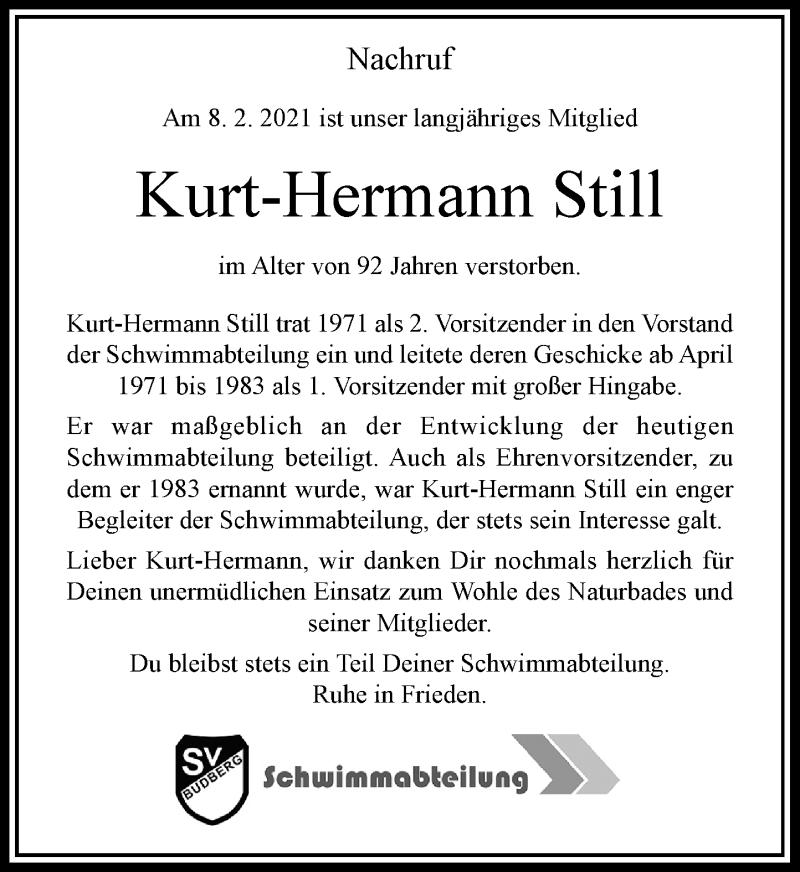 Traueranzeige für Kurt-Hermann Still vom 16.02.2021 aus Rheinische Post