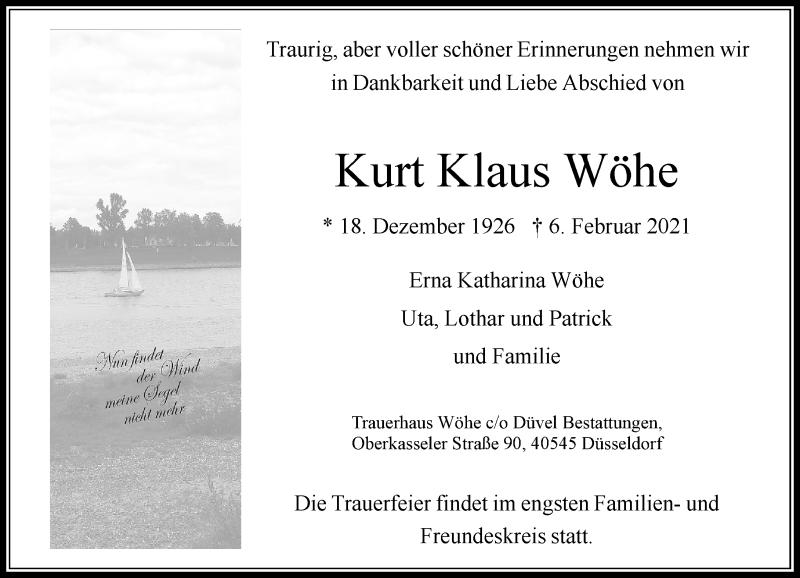 Traueranzeige für Kurt Klaus Wöhe vom 13.02.2021 aus Rheinische Post