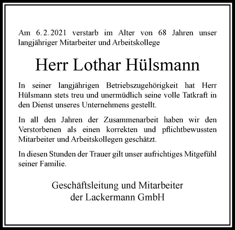 Traueranzeige für Lothar Hülsmann vom 12.02.2021 aus Rheinische Post