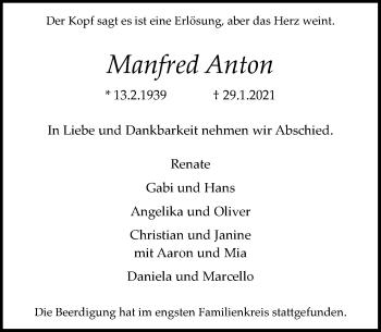 Traueranzeige von Manfred Anton von Rheinische Post
