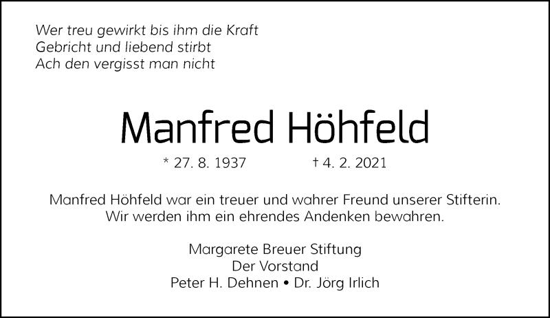 Traueranzeige für Manfred Höhfeld vom 27.02.2021 aus Rheinische Post
