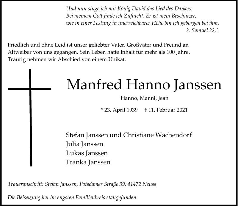 Traueranzeige für Manfred Hanno Janssen vom 20.02.2021 aus Rheinische Post