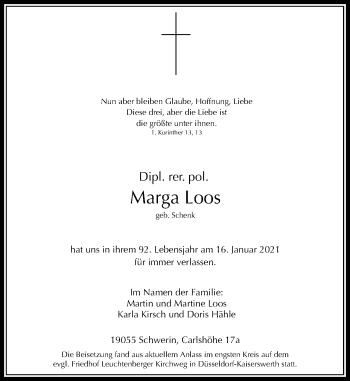 Traueranzeige von Marga Loos von Rheinische Post