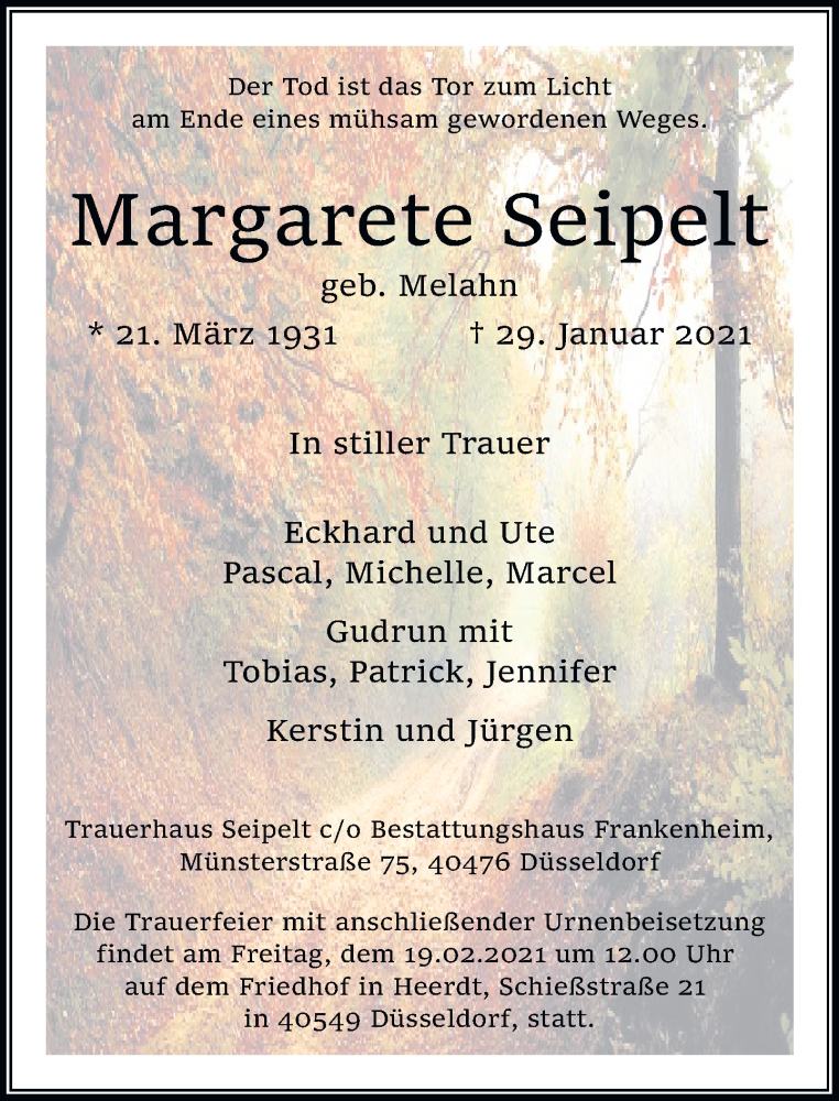 Traueranzeige für Margarete Seipelt vom 13.02.2021 aus Rheinische Post
