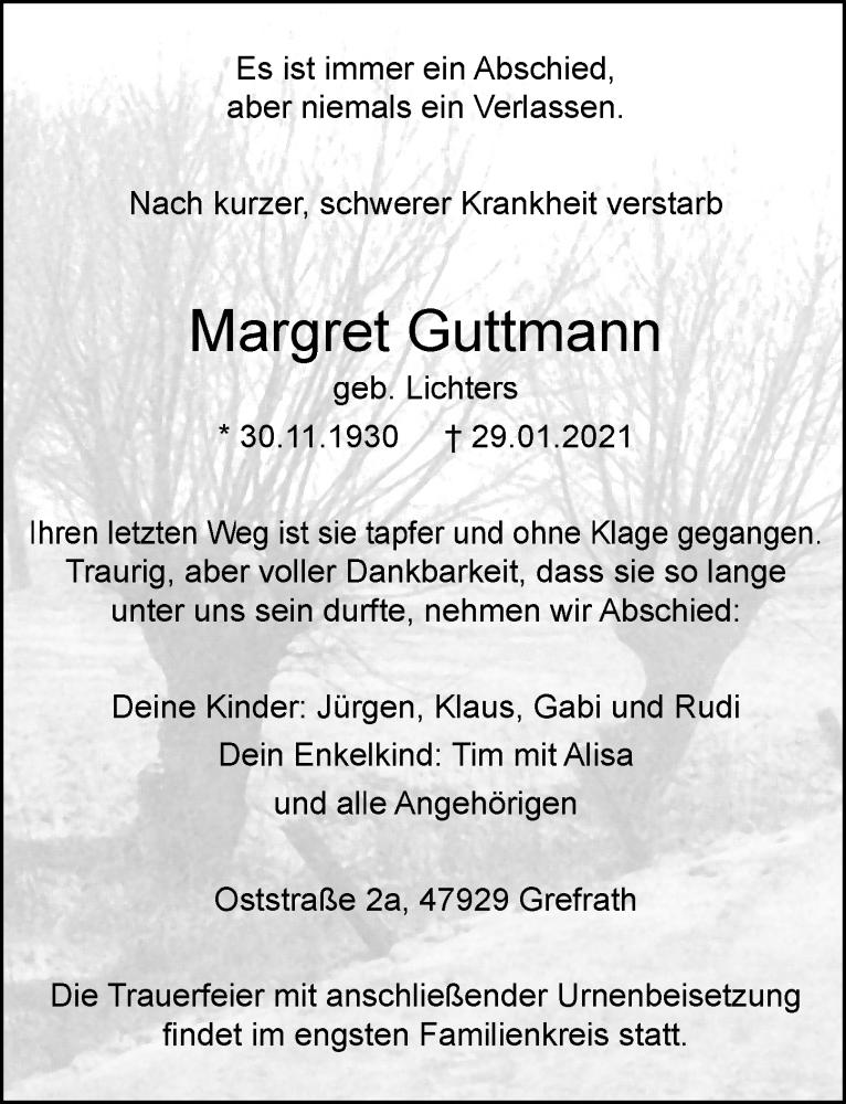 Traueranzeige für Margret Guttmann vom 06.02.2021 aus Rheinische Post
