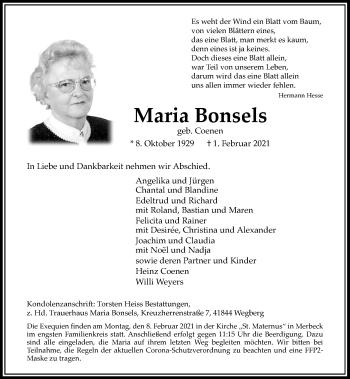 Traueranzeige von Maria Bonsels von Rheinische Post