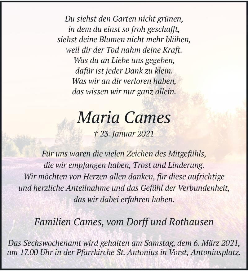 Traueranzeige für Maria Cames vom 27.02.2021 aus Rheinische Post