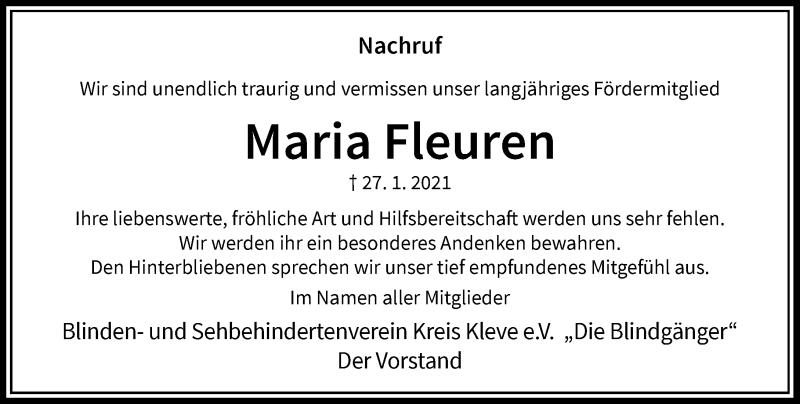 Traueranzeige für Maria Fleuren vom 03.02.2021 aus Rheinische Post