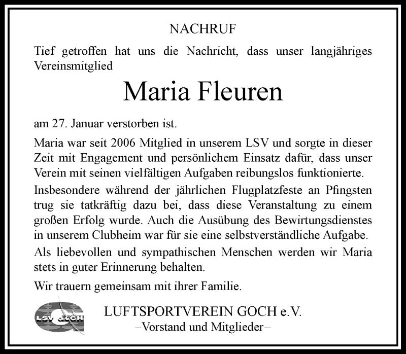 Traueranzeige für Maria Fleuren vom 04.02.2021 aus Rheinische Post