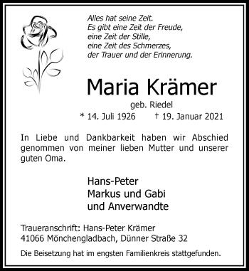Traueranzeige von Maria Krämer von Rheinische Post