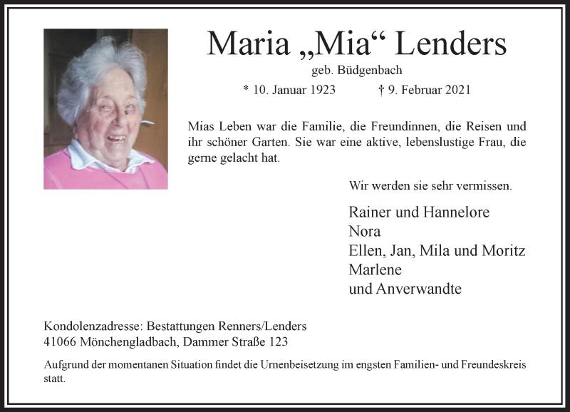 Traueranzeige für Maria Lenders vom 20.02.2021 aus Rheinische Post