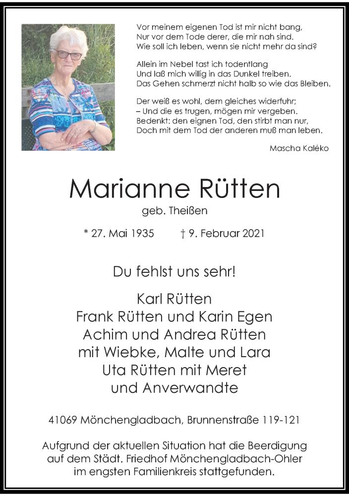 Traueranzeige für Marianne Rütten vom 20.02.2021 aus Rheinische Post