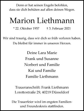 Traueranzeige von Marion Liethmann von Rheinische Post
