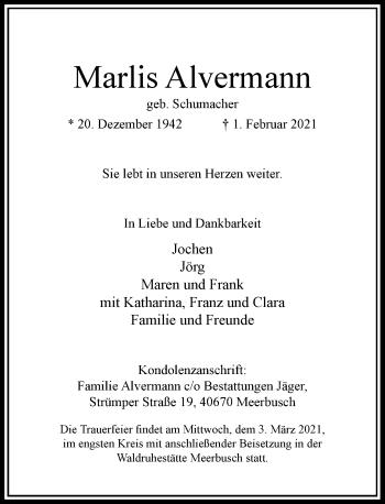 Traueranzeige von Marks Alvermann von Rheinische Post