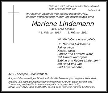 Traueranzeige von Marlene Lindemann von Rheinische Post