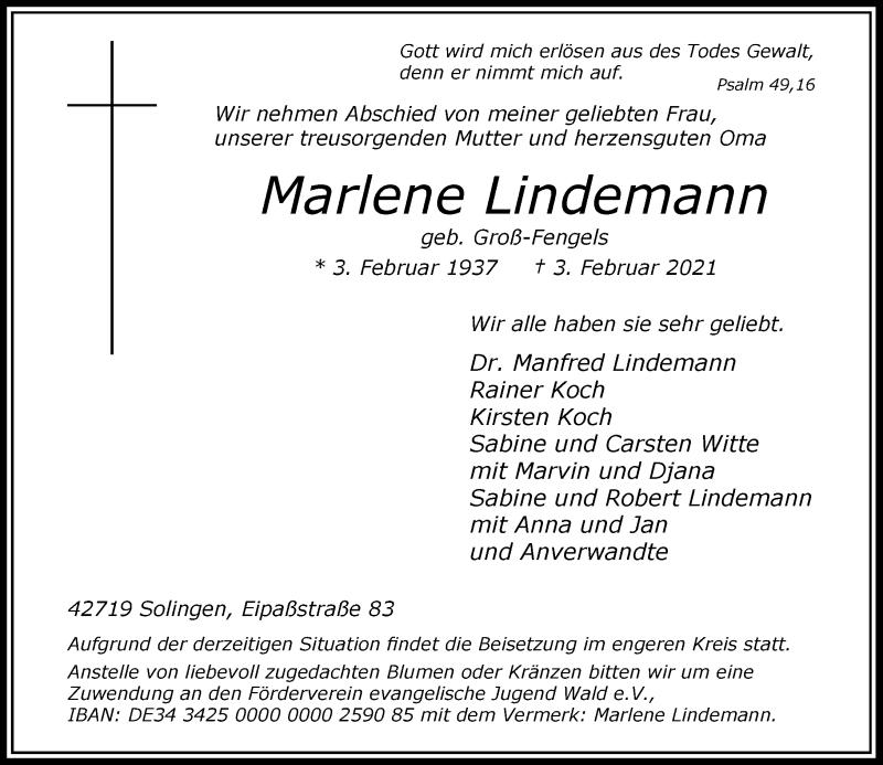Traueranzeige für Marlene Lindemann vom 10.02.2021 aus Rheinische Post