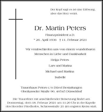 Traueranzeige von Martin Peters von Rheinische Post