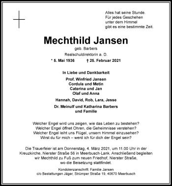 Traueranzeige von Mechthild Jansen von Rheinische Post