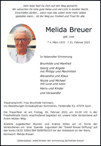 Traueranzeige von Melida Breuer von Rheinische Post