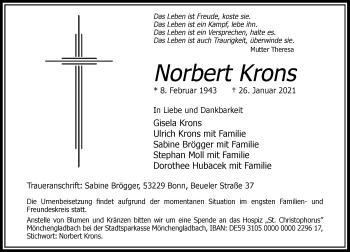 Traueranzeige von Norbert Krons von Rheinische Post