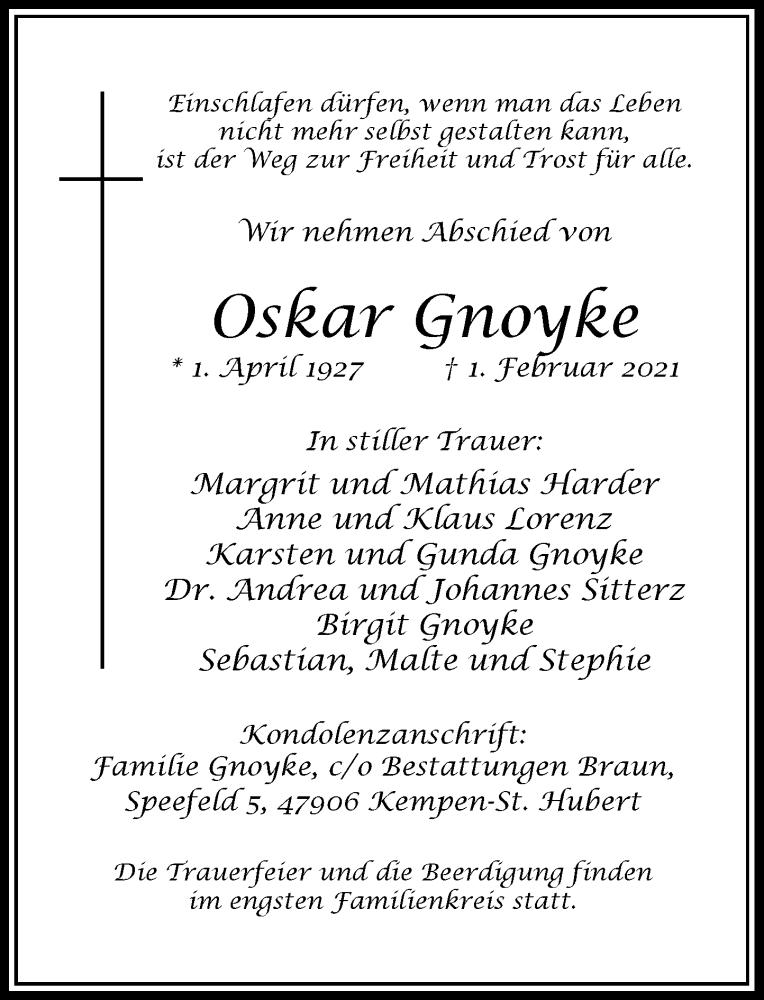 Traueranzeige für Oskar Gnoyke vom 06.02.2021 aus Rheinische Post