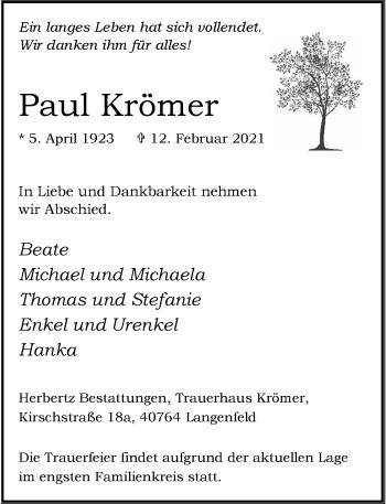 Traueranzeige von Paul Krömer von Rheinische Post
