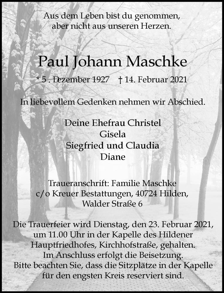 Traueranzeige für Paul Johann Maschke vom 20.02.2021 aus Rheinische Post