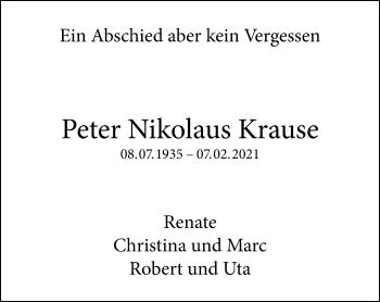 Traueranzeige von Peter Nikolaus Krause von Rheinische Post