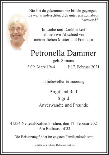 Traueranzeige von Petronella Dammer von Rheinische Post