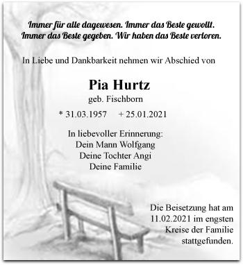 Traueranzeige von Pia Hurtz von Rheinische Post