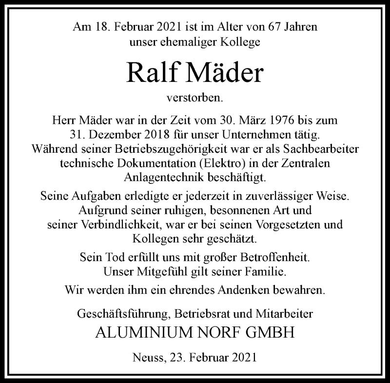 Traueranzeige für Ralf Mäder vom 23.02.2021 aus Rheinische Post