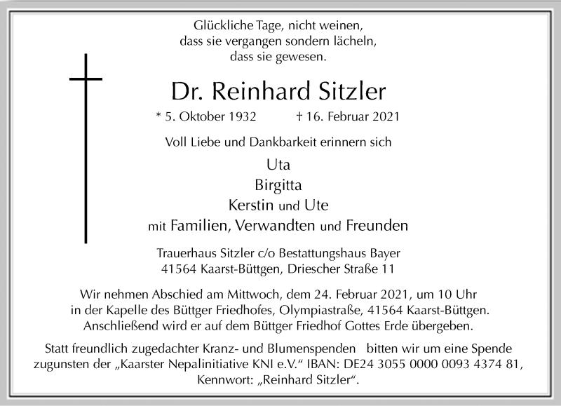 Traueranzeige für Reinhard Sitzler vom 20.02.2021 aus Rheinische Post