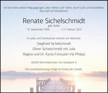 Traueranzeige von Renate Sichelschmidt von Rheinische Post