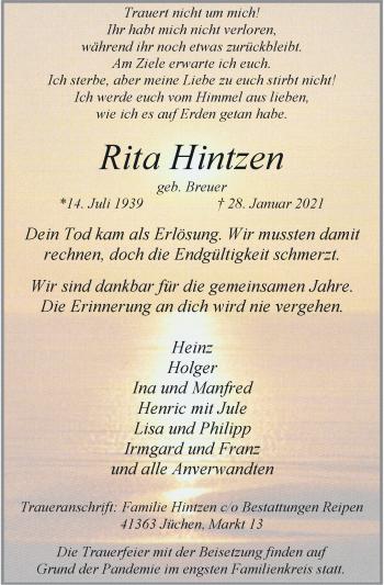 Traueranzeige von Rita Hintzen von Rheinische Post