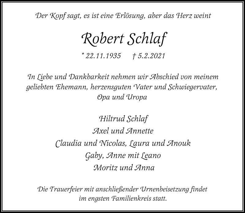 Traueranzeige für Robert Schlaf vom 13.02.2021 aus Rheinische Post