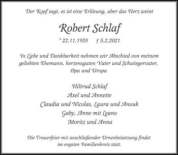 Traueranzeige von Robert Schlaf von Rheinische Post