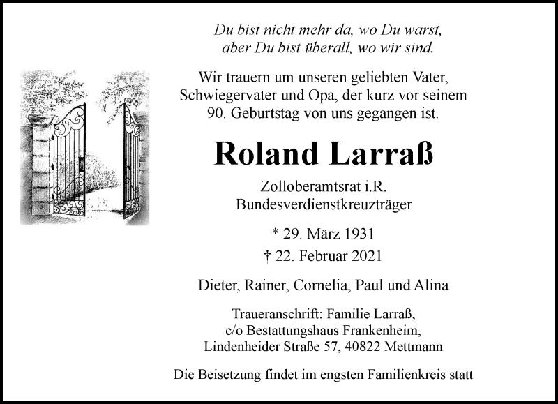 Traueranzeige für Roland Larraß vom 27.02.2021 aus Rheinische Post