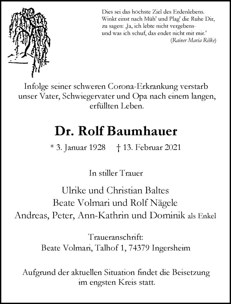 Traueranzeige für Rolf Baumhauer vom 17.02.2021 aus Rheinische Post