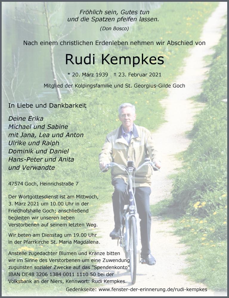 Traueranzeige für Rudi Kempkes vom 27.02.2021 aus Rheinische Post