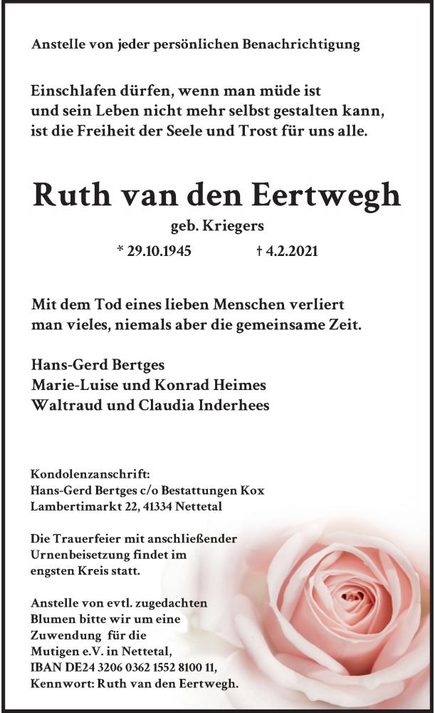Traueranzeige für Ruth van den Eertwegh vom 06.02.2021 aus Rheinische Post