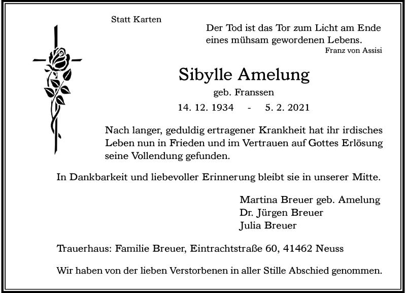 Traueranzeige für Sibylle Amelung vom 13.02.2021 aus Rheinische Post