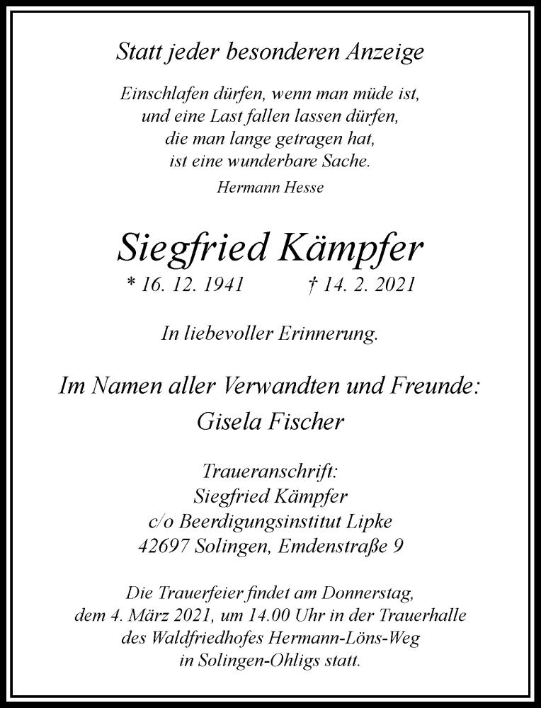 Traueranzeige für Siegfried Kämpfer vom 27.02.2021 aus Rheinische Post