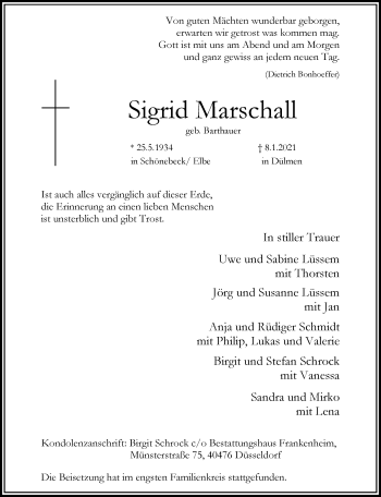 Traueranzeige von Sigrid Marschall von Rheinische Post
