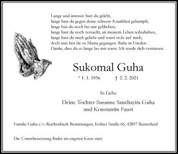 Traueranzeige von Sukomal Guha von Rheinische Post