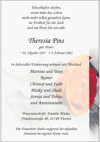Traueranzeige von Theresia Pins von Rheinische Post